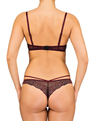 Lauma, Red Strappy Balconette Bra, On Model Back, 65F30