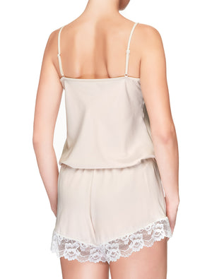 Lauma, Ivory Pyjama Shorts, On Model Back, 65H71