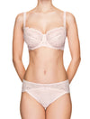 Lauma, Light Pink Mid Waist Lace Panties, On Model Front, 66H50