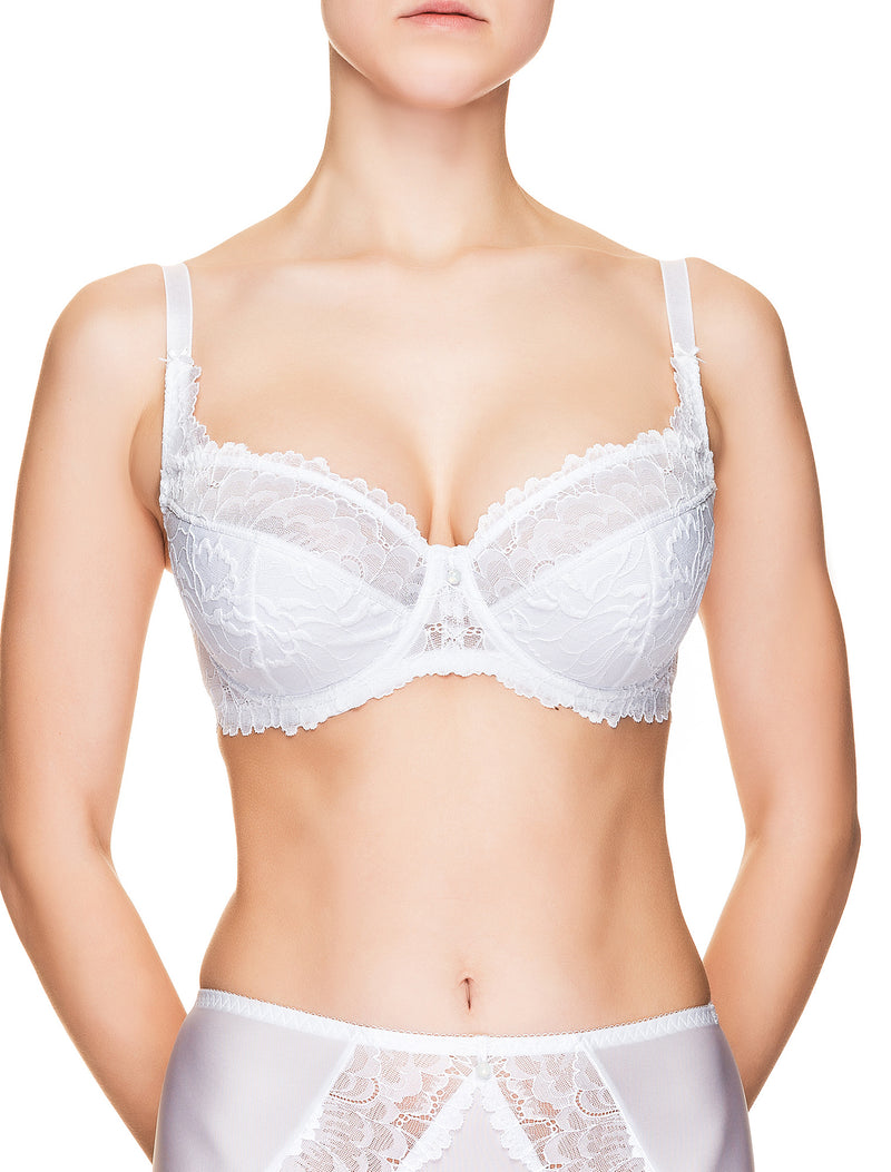 Lauma, White Underwired Half-padded Lace Bra, On Model Front, 66H40