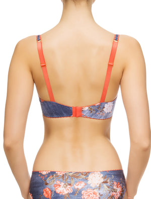 Lauma, Blue Print Half Padded Bra, On Model Back, 69G40