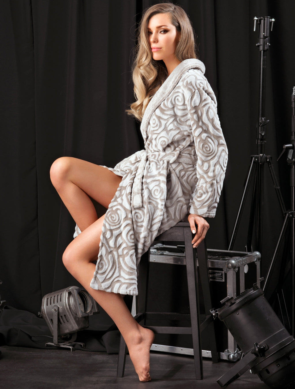 Lauma, Grey Soft Robe, On Model Front, 72D96