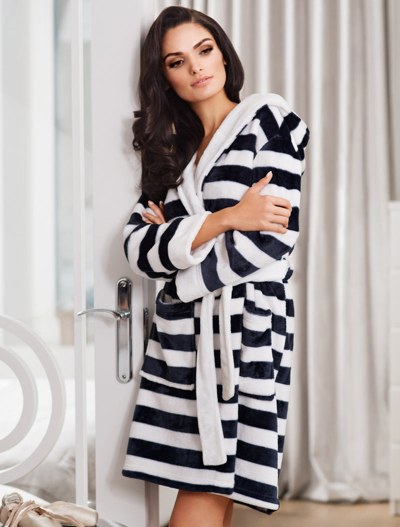 Lauma, Striped Warm Robe, On Model Front, 72D97