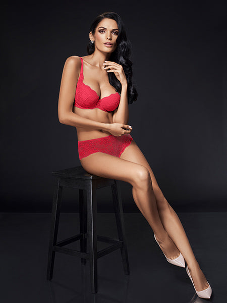Lauma, Red Push Up Bra, On Model Front, 72F31