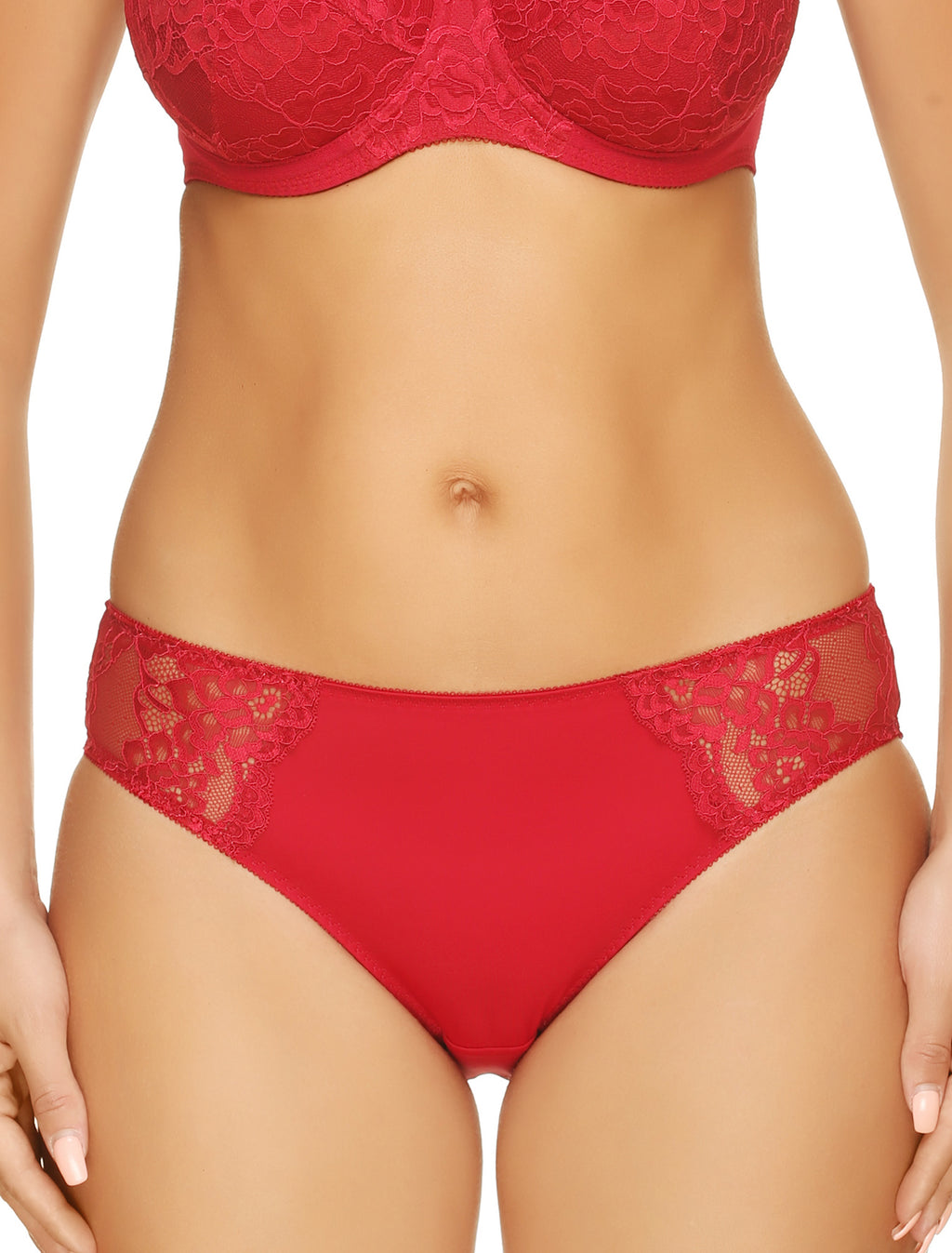 Lauma, Red Mid Waist Panties, On Model Front, 72F50