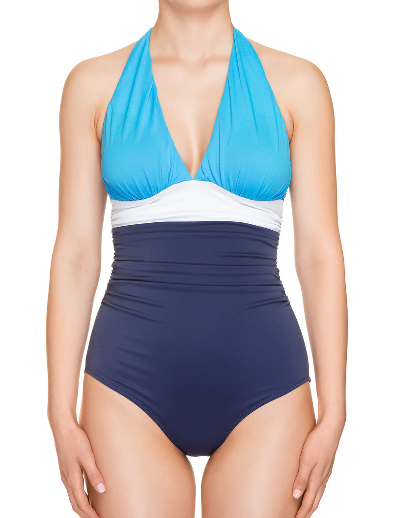 Lauma, Blue Halterneck Swimsuit, On Model Front, 74H80