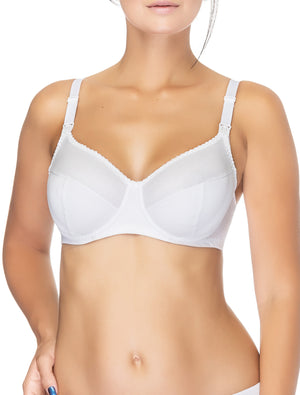 Lauma, White Uderwired Non-padded Cotton Nursing Bra, On Model Front, 75A20