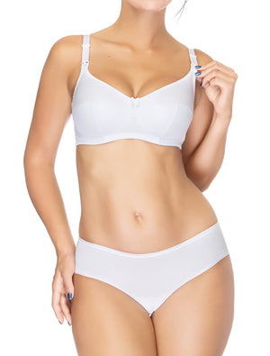 Lauma, White Mid Waist Cotton Panties, On Model Front, 15B56