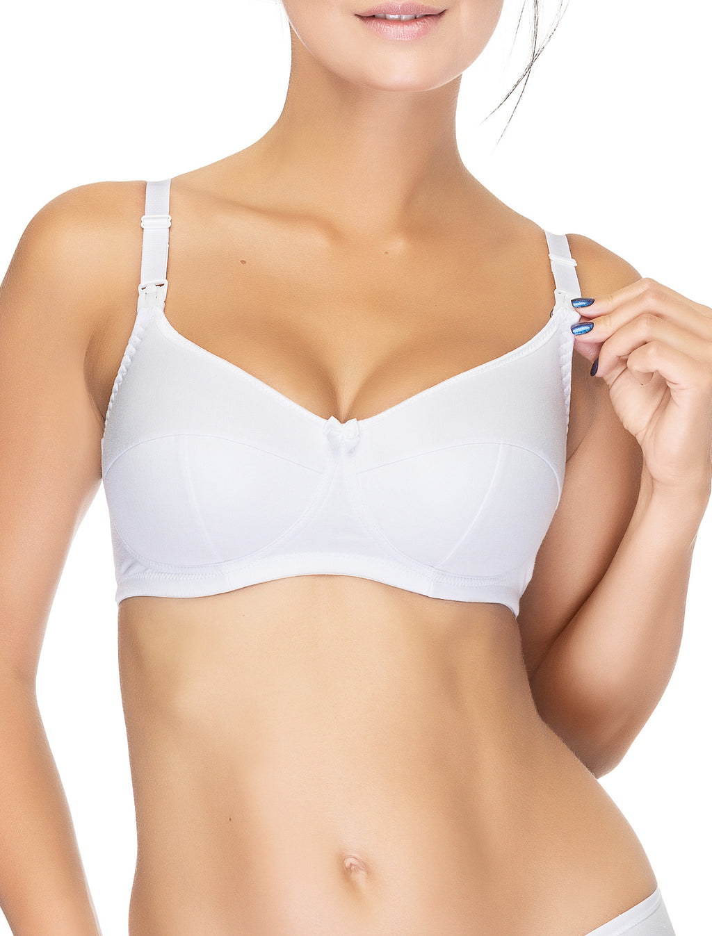 Lauma, White Wireless Padded Cotton Nursing Bra, On Model Front, 75A40