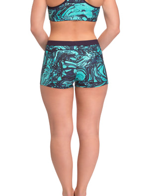 Lauma, Green Sports Shorts, On Model Back, 75E70