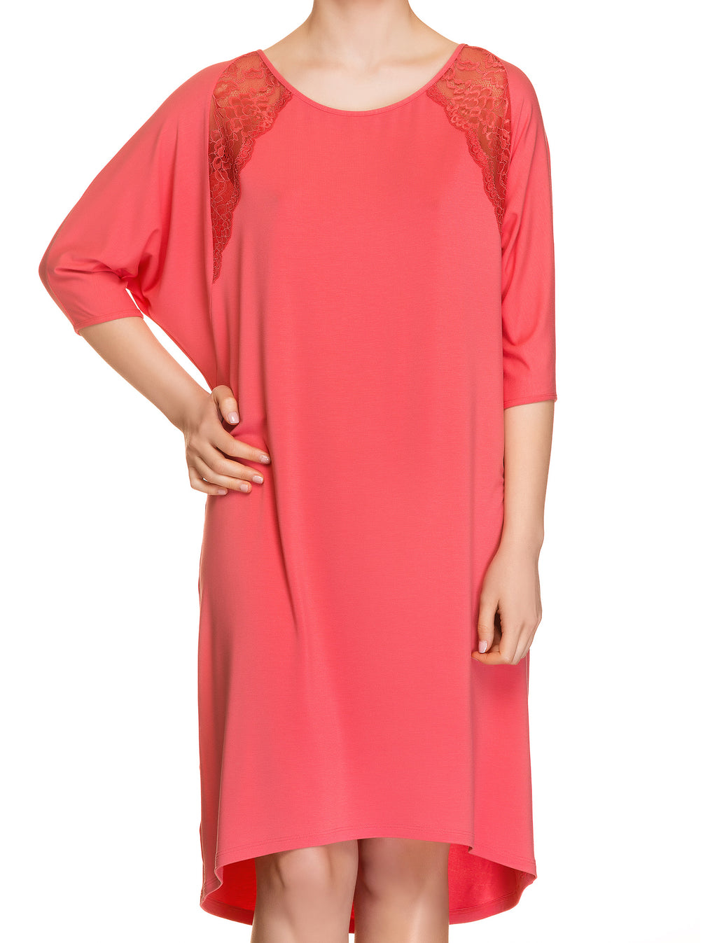 Lauma, Red Viscose Night Dress, On Model Front, 76H91