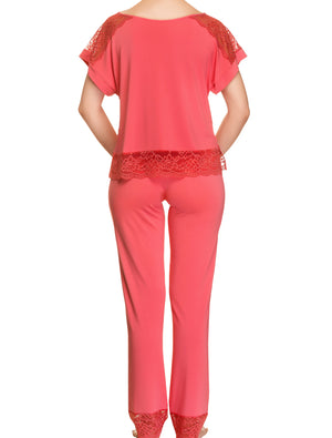 Lauma, Red Viscose Pyjama Pants, On Model Back, 76H58