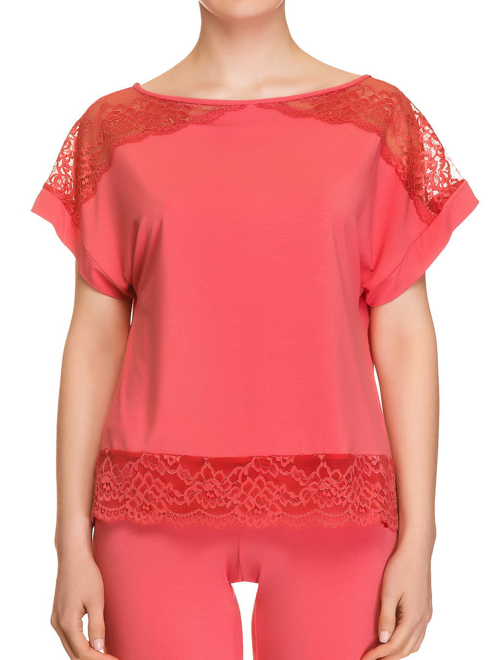 Lauma, Red Viscose Pyjama Top, On Model Front, 76H92