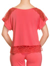 Lauma, Red Viscose Pyjama Top, On Model Back, 76H92