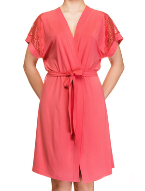 Lauma, Red Viscose Robe, On Model Front, 76H98