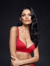 Lauma, Red Seamless Wireless Moulded Bra, On Model Front, 77D30