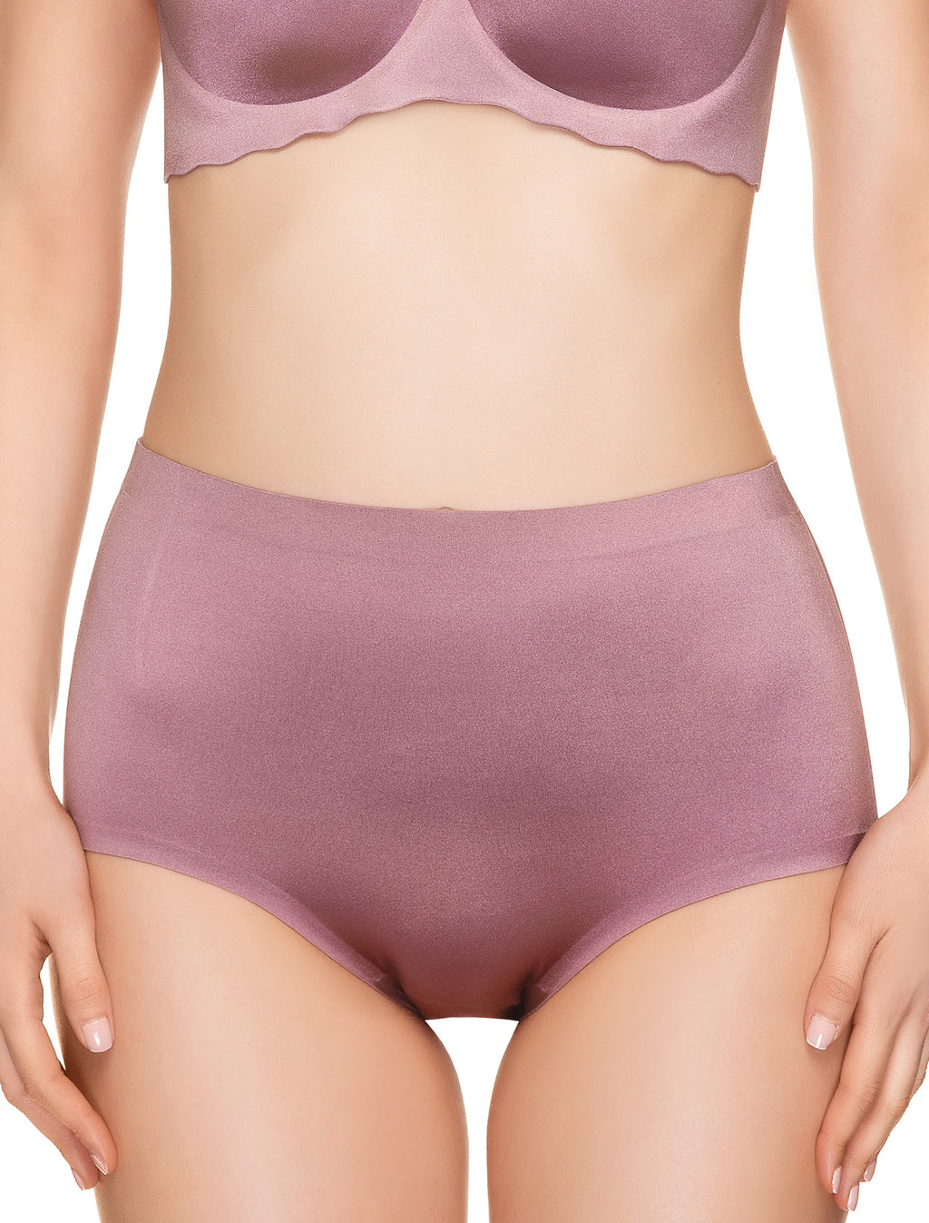 Lauma, Pink Seamless High Waist Panties, On Model Front, 77D52