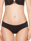 Lauma, Black Seamless Mid Waist Hipster Panties, On Model Front, 77D53