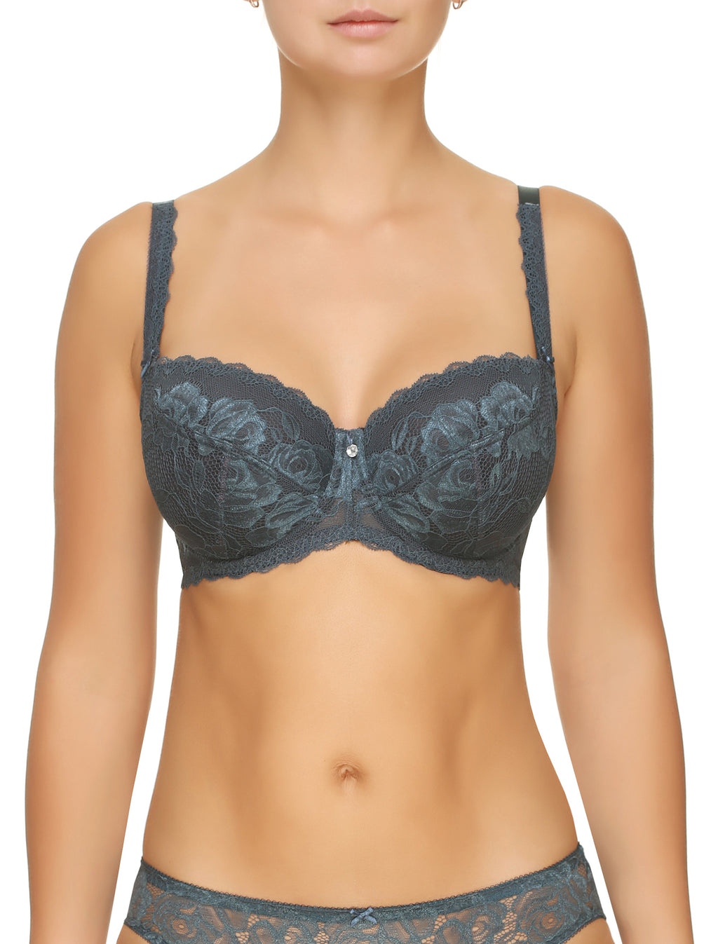 Lauma, Blue Lace Underwired Soft-cup Bra, On Model Front, 77G20