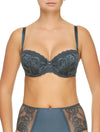 Lauma, Blue Lace Balconette Bra, On Model Front, 77G30