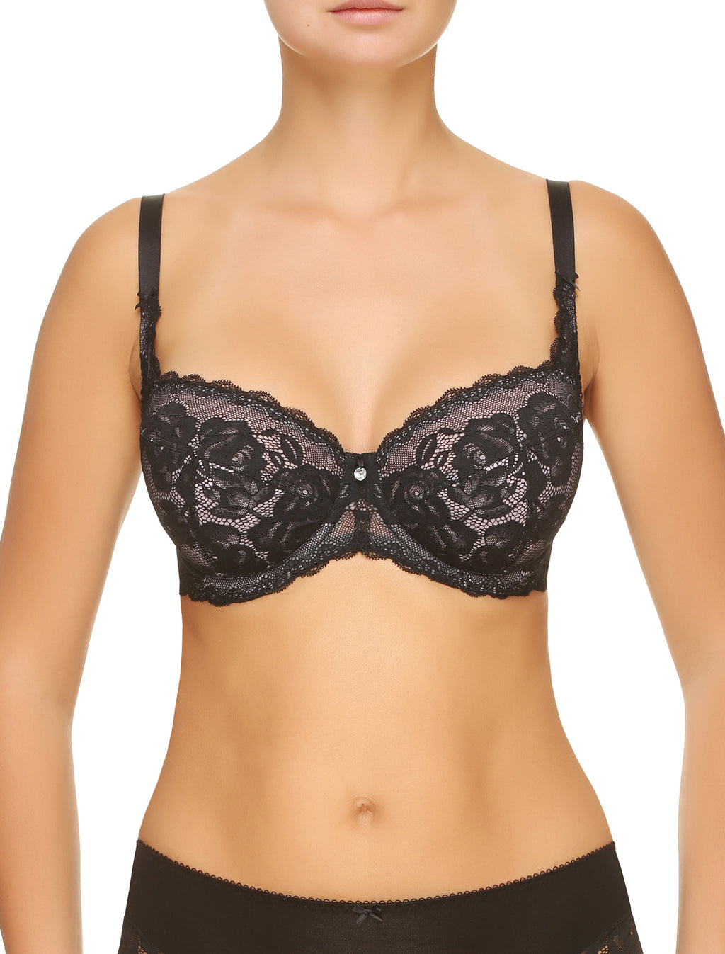 Lauma, Black Lace Half-padded Bra, On Model Front, 77G40
