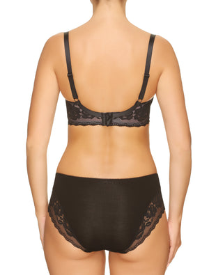 Lauma, Black Viscose Mid Waist Panties, On Model Back, 77G55