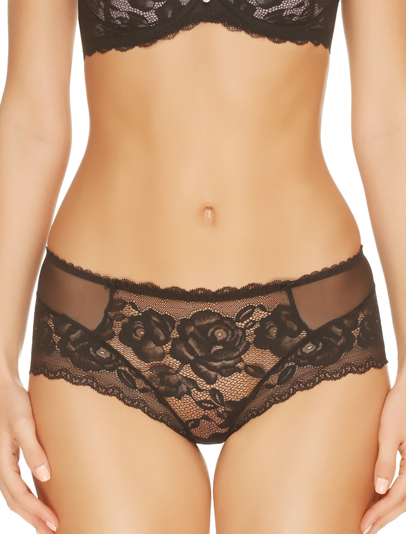Lauma, Black Lace Mid Waist Panties, On Model Front, 77G50