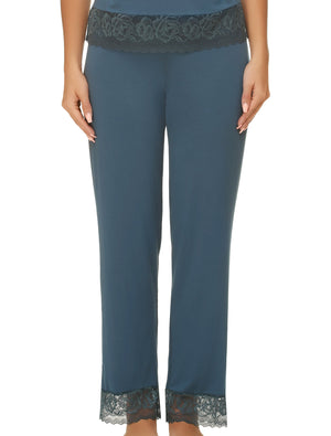 Lauma, Blue Viscose Pyjama Pants, On Model Front, 77G58