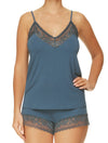 Lauma, Blue Viscose Pyjama Cami Top, On Model Front, 77G90