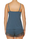 Lauma, Blue Viscose Pyjama Cami Top, On Model Back, 77G90
