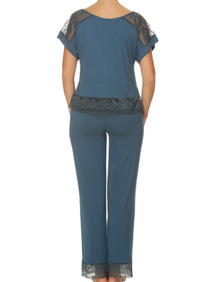 Lauma, Blue Viscose Pyjama Pants, On Model Back, 77G58