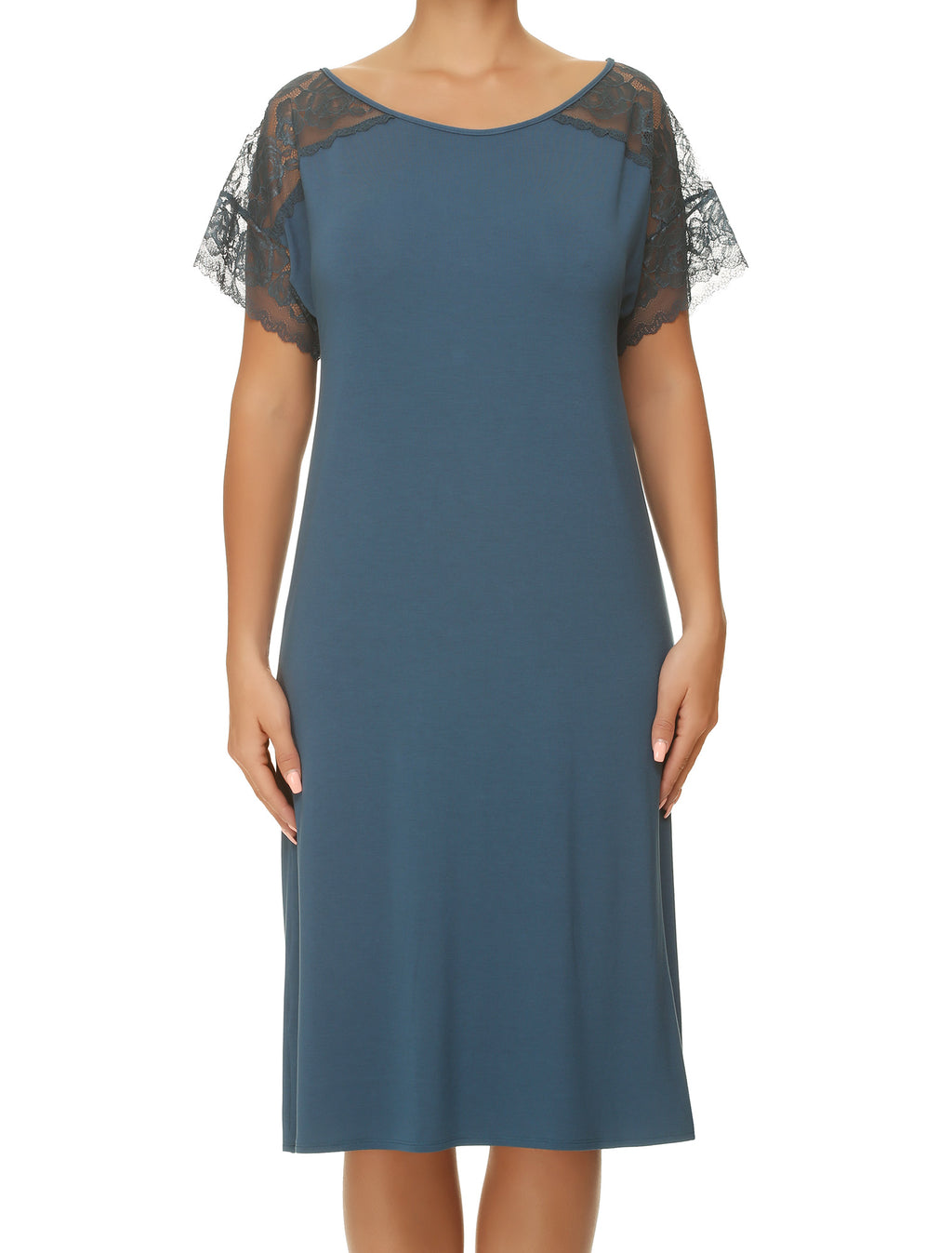 Lauma, Blue Viscose Night Dress, On Model Front, 77G92