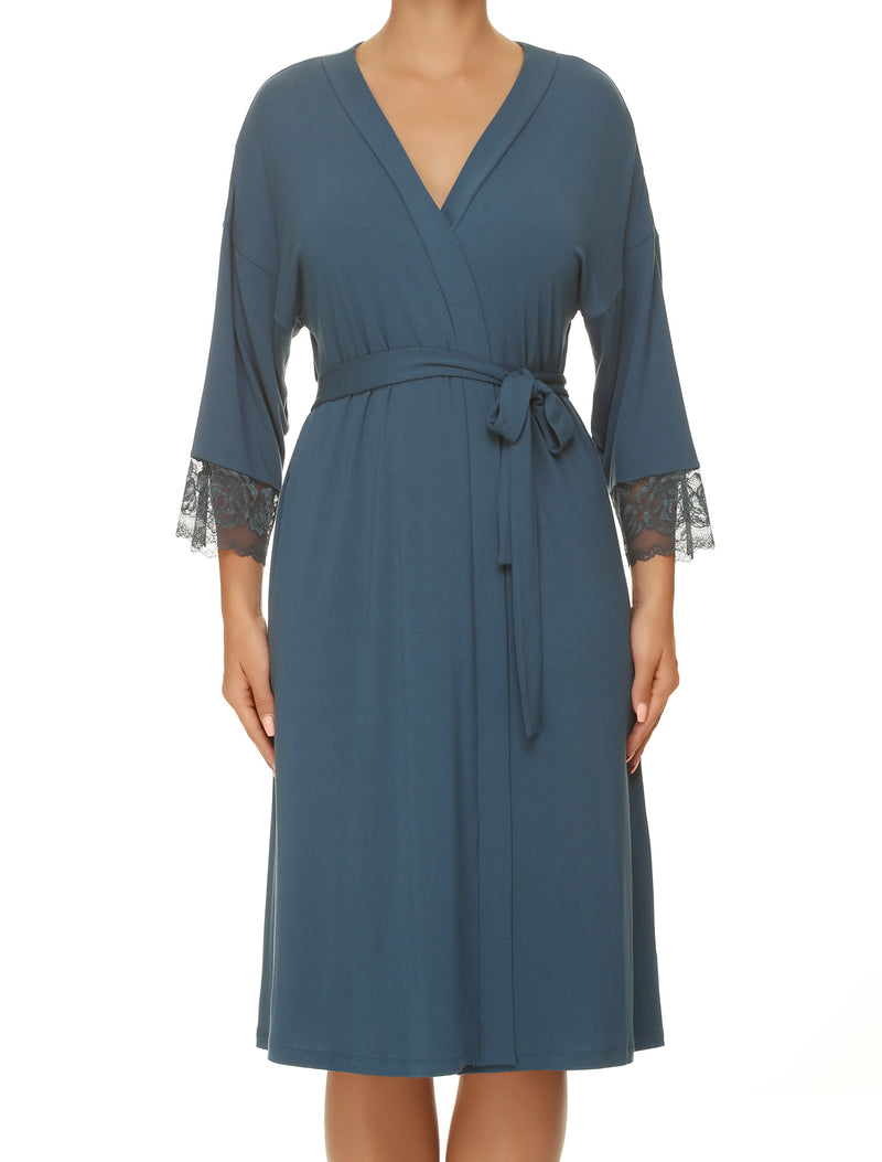 Lauma, Blue Viscose Robe, On Model Front, 77G98