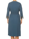 Lauma, Blue Viscose Robe, On Model Back, 77G98