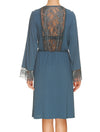 Lauma, Blue Viscose Lace Trim Robe, On Model Back, 77G99