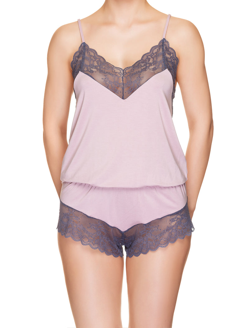 Soft Viscose And Lace Playsuit
