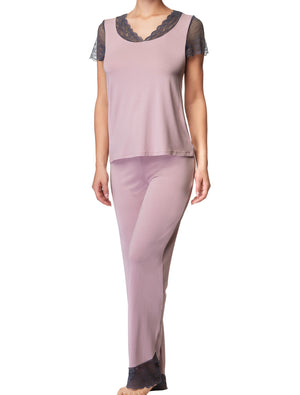 Lauma, Pink Pyjama Top, On Model Front, 77H92