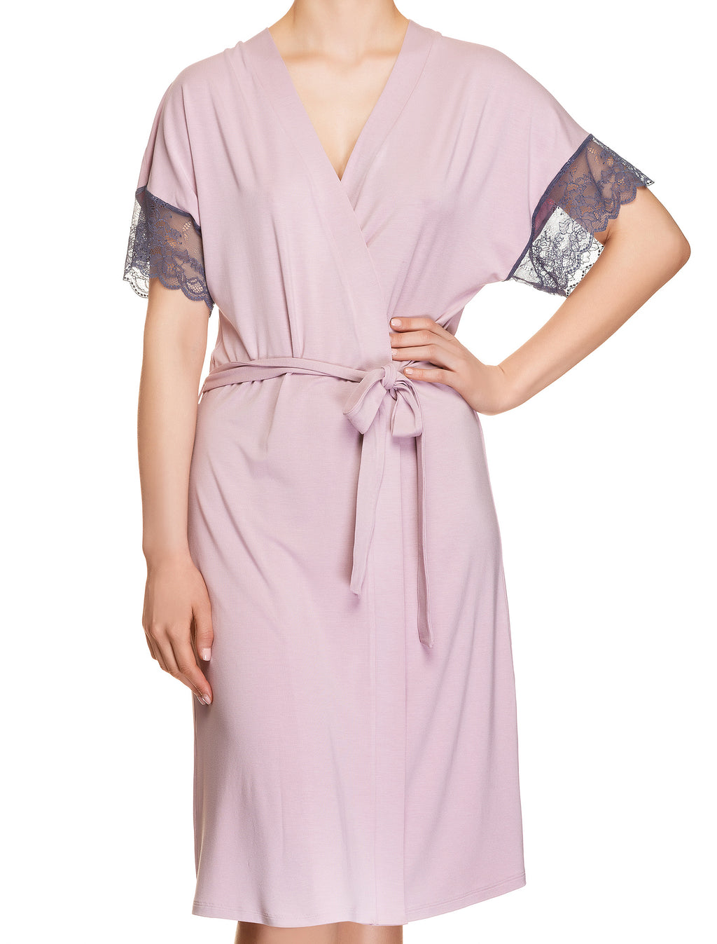 Lauma, Pink Viscose Robe, On Model Front, 77H98