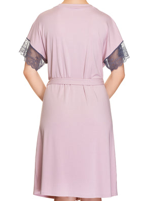 Lauma, Pink Viscose Robe, On Model Back, 77H98