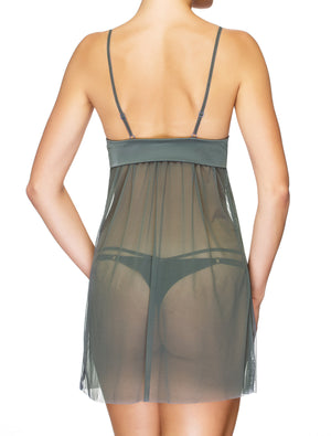 Lauma, Grey Tulle Night Dress, On Model Back, 78H90