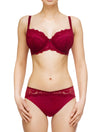 Lauma, Red Mid Waist Panties, On Model Front, 83G50
