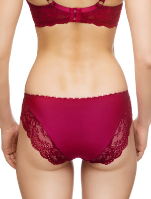 Lauma, Red Mid Waist Panties, On Model Back, 83G50