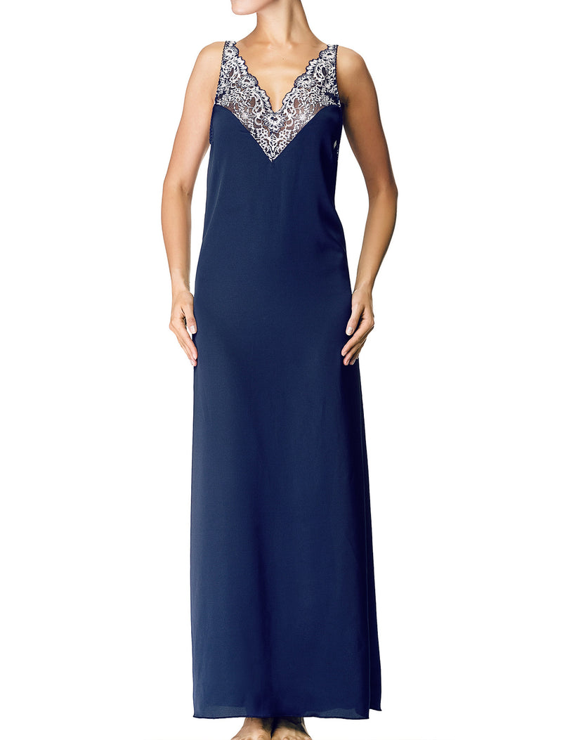 Lauma, Blue Long Satin Night Dress, On Model Front, 84H90