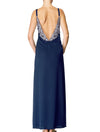 Lauma, Blue Long Satin Night Dress, On Model Back, 84H90