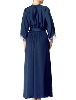 Lauma, Blue Silky Satin Long Dressing Gown, On Model Back, 84H98
