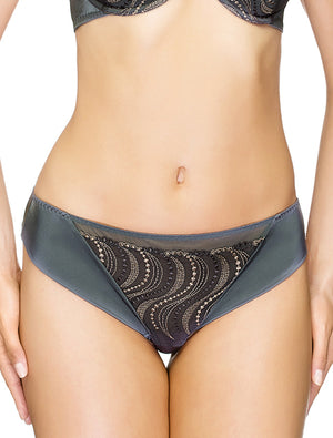 Lauma, Grey Mid Waist String Panties, On Model Front, 95H60