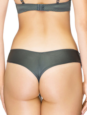 Lauma, Grey Mid Waist String Panties, On Model Back 95H60