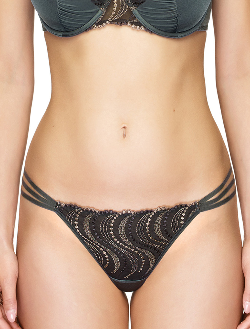 Lauma, Grey Low Waist String Thong Panties, On Model Front, 95H61