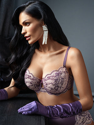 Lauma, Violet Lace Soft-cup Underwired Bra, On Model Front, 03J20