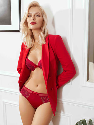 Lauma, Red Lace String Tanga, On Model Front, 47H62